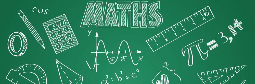 Banière avec des motifs représentant les maths : équerre, crayon, calculatrice, figures géométriques