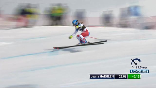Are (SWE), Super-G dames: Joana Haehlen (SUI) [RTS]