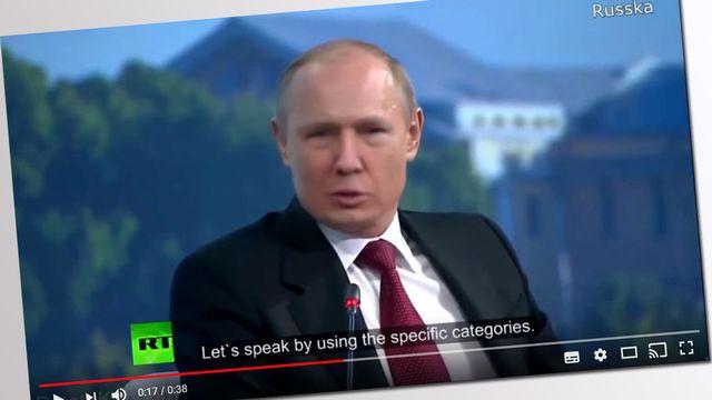 """Un """"deepfake"""" publié sur YouTube, dans lequel le visage du président américain Donald Trump remplace celui de son homologue russe Vladimir Poutine."""