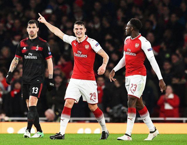 Granit Xhaka s'est fait l'auteur du 2-1 en faveur d'Arsenal. [Facundo Arrizabalaga - Keystone]