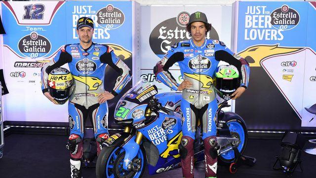 Thomas Lüthi (à gauche) et Franco Morbidelli seront coéquipiers pour cette saison de Moto GP. [Fernando Villar - Keystone]