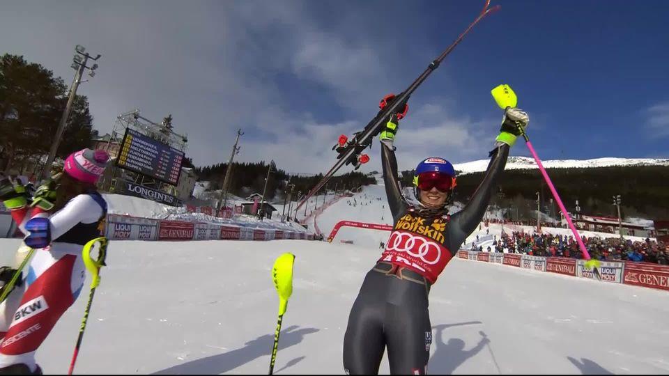 Are (SWE), Slalom dames 2e manche: victoire écrasante pour Mikaela Shiffrin (USA) [RTS]