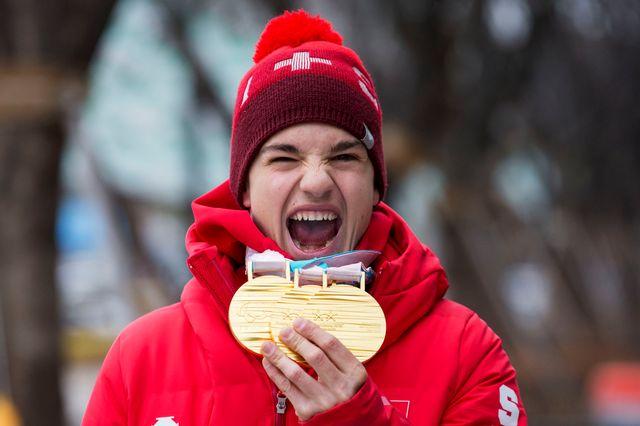 Avec trois médailles d'or, Gmür a été l'un des athlètes les plus en vue à PyeongChang. [Alexandra Wey - Keystone]