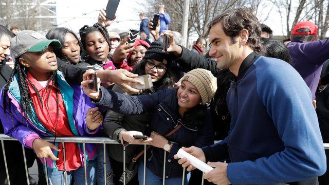 Federer fait escale à Chicago pour présenter la prochaine Laver Cup. [Charles Rex Arbogast - Keystone]