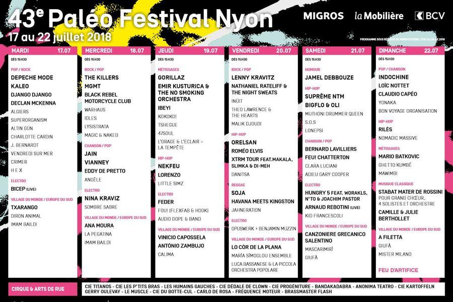 Le programme complet du Paléo Festival 2018 à Nyon.