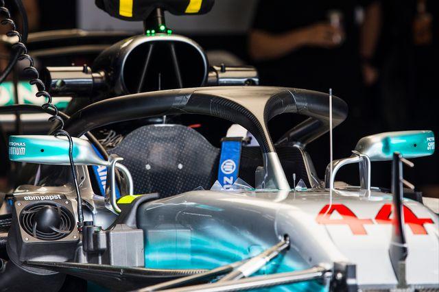 Le halo de la Mercedes du quadruple champion du monde Lewis Hamilton. [Xavier Bonilla - AFP]