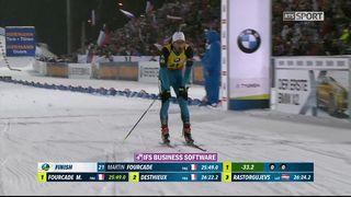 Biathlon, sprint messieurs: l'arrivé de Martin Fourcade (FRA) [RTS]