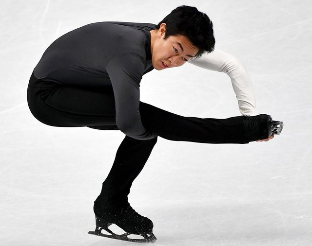 Nathan Chen lors du programme court des Mondiaux de Milan. [Daniel da Zennaro - Keystone]