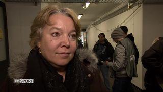 Acte VI, Davos - Bienne (2-5): Stéphanie Mérillat, la vice-présidente du HC Bienne, s'exprime au micro de la RTS [RTS]