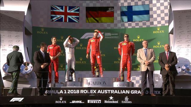 GP d'Australie: la joie de l'Allemand sur le podium après sa victoire [RTS]