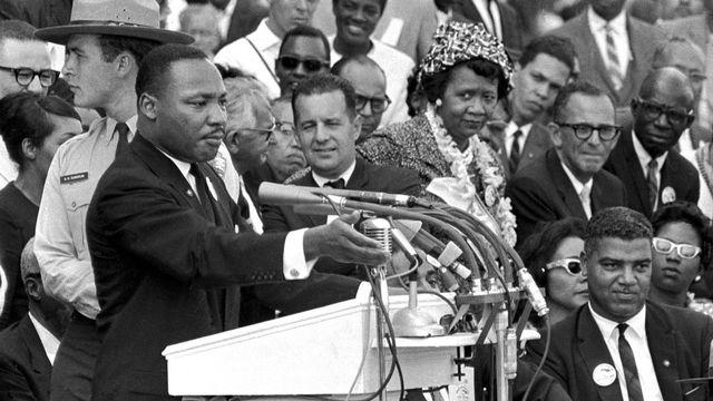 "Martin Luther King prononce son célèbre discours ""I Have a dream"" en 1963 [Uncredited - Keystone]"