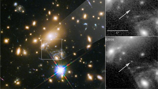 A cinq milliards d'année-lumière de la Terre, un amas de galaxies fait office de lentille gravitationnelle, amplifiant la lumière d'Icare, une étoile située elle à neuf milliards d'années-lumière (au centre et à droite du carré). [NASA, ESA, and P.Kelly, University of Minnesota - DR]