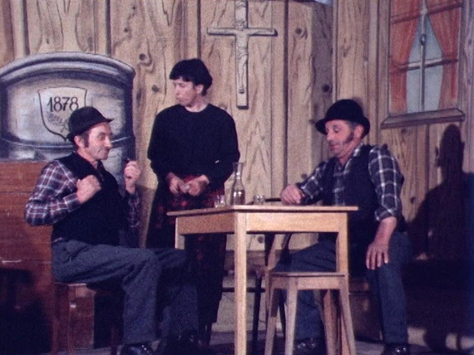 Pièce de théâtre en patois fribourgeois, 1978. [RTS]
