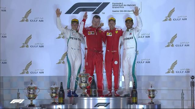 GP de Bahreïn: la joie de l'Allemand sur le podium [RTS]