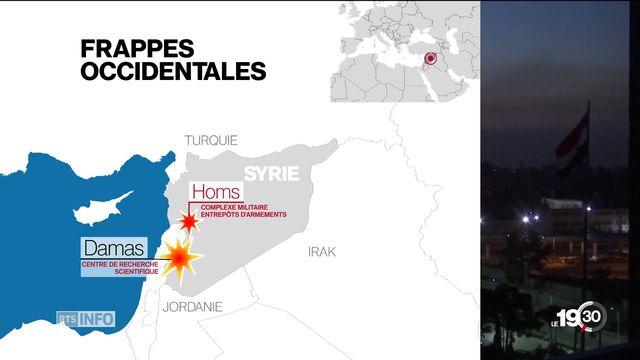 Syrie: cibles chimiques frappées par les USA, la France et Londres [RTS]