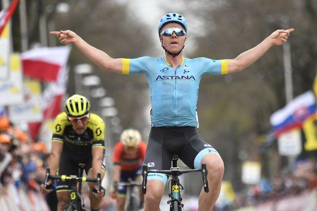 Michael Valgren a remporté l'Amstel Gold Race 2018. [Eric Lalman - Belga Photo/AFP]