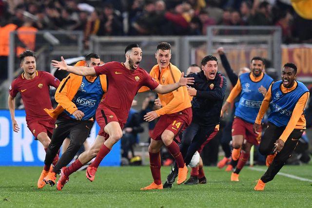Manolas a inscrit le troisième et dernier but romain lors de la qualification historique des Italiens face à Barcelone. [Ettore Ferrari - Keystone]