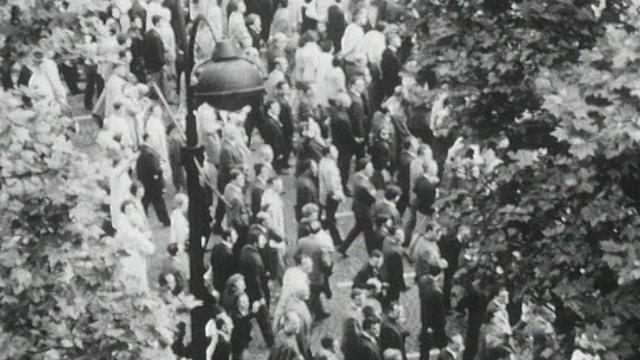 Manifestation de soutien au général de Gaulle en 1968. [RTS]