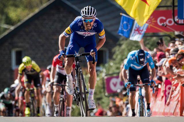 Julian Alaphilippe a mis fin à l'hégémonie d'Alejandro Valverde sur la Flèche Wallonne. [Julien Warnand - Keystone]