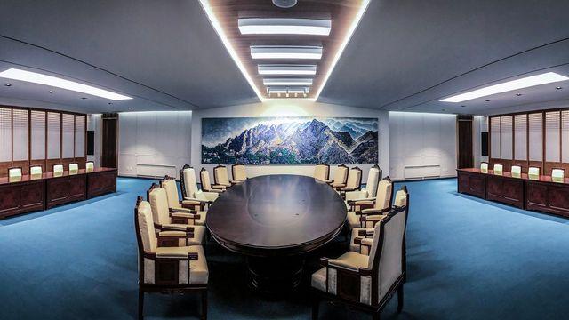 La salle qui va accueillir le sommet intercoréen, dans un village près de la frontière. [EPA/South Korean presidential office/Keystone]