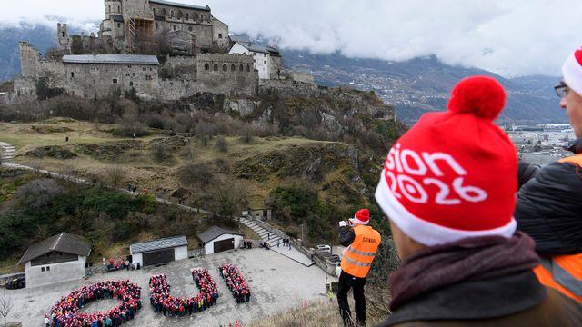 Manifestation pour les JO Sion 2026 à Sion, le 18 mars 2018. [Laurent Gillieron - Keystone]