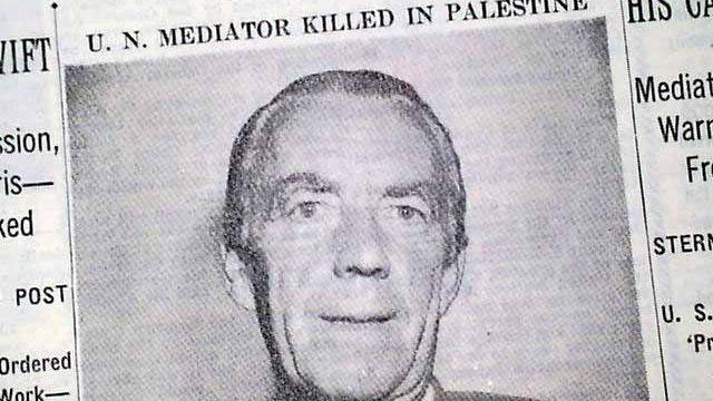 Coupure de presse du New York Times (1948) annonçant l'assassinat de Folke Bernadotte.