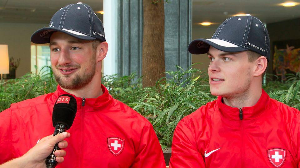 Tristan Scherwey et Gregory Hofmann se sont prêtés au jeu de l'interview croisée. [RTS]