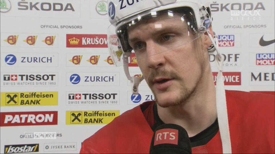 Groupe A, Suisse - France 5-1:  Gaëtan Haas à l'interview après la victoire de l'équipe de Suisse [RTS]