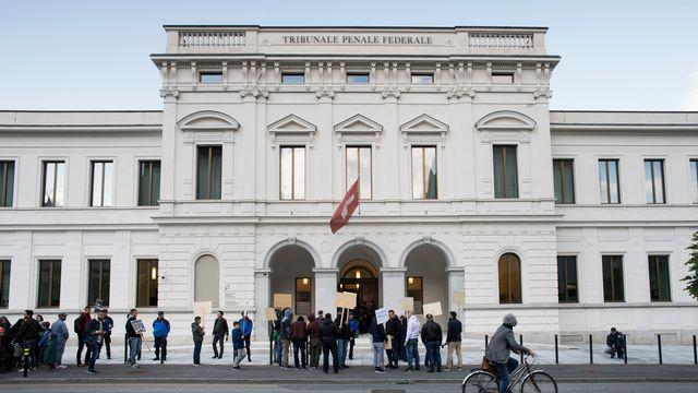 Le Tribunal pénal de Bellinzone (TI), où se déroule le procès de trois responsable du Conseil central islamique de Suisse, le 16 mai 2018. [Alessandro Crinari - Keystone/Ti-Press]