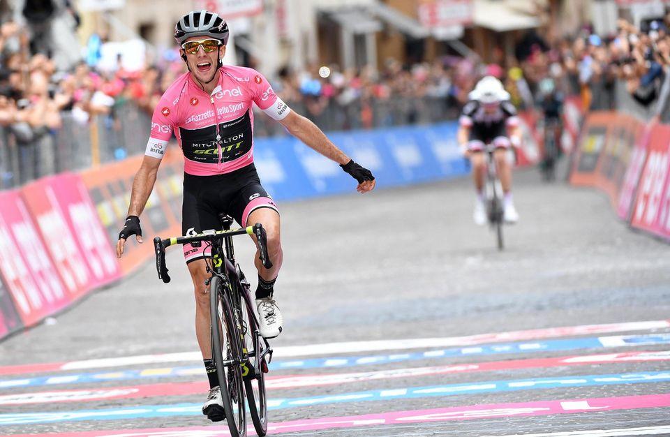 Simon Yates, le maillot rose, a remporté la 11e étape du Giro. [Daniel Dal Zennaro - Keystone]