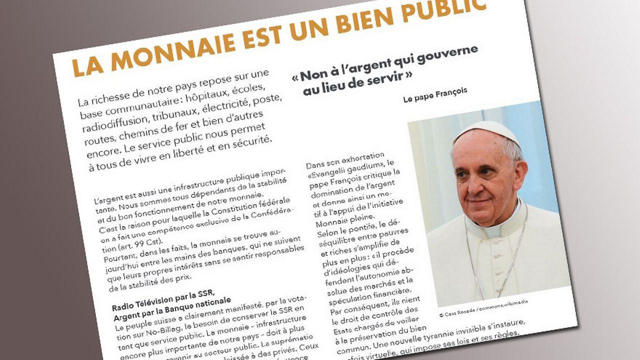"""Le tout-ménage des partisans de l'initiative """"Monnaie pleine"""", où figure le pape."""
