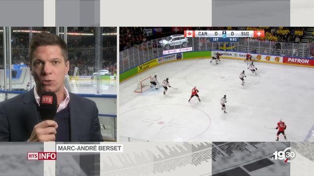 Hockey: commentaires de Marc-André Berset à l'issue du premier tiers-temps de la rencontre Suisse-Canada [RTS]