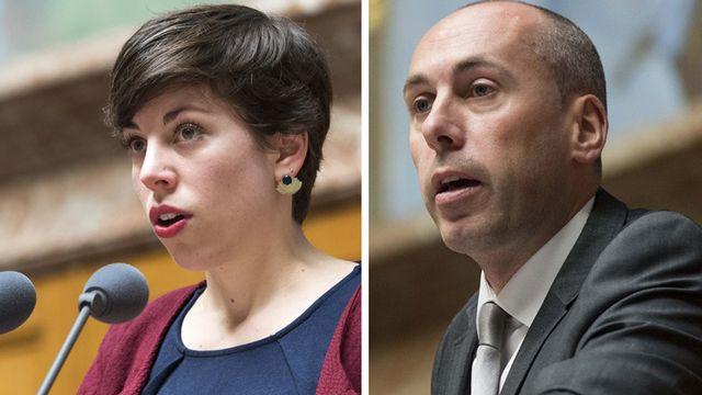 Les conseillers nationaux Lisa Mazzone (PS-GE) et Manfred Bühler (UDC-BE). [Keystone]