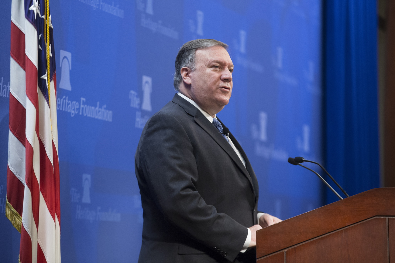 Mike Pompeo, lors de son intervention sur l'accord avec l'Iran, mardi 21 mai 2018 à Washington.