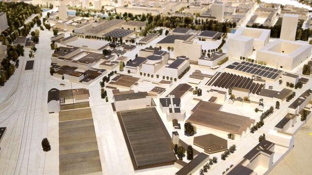 Maquette du projet Praille-Acacias-Vernets (PAV) à Genève. [Martial Trezzini - Keystone]