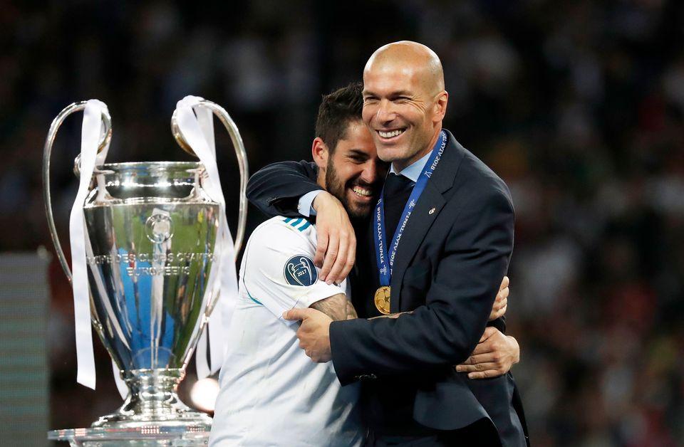 Zidane est le premier entraîneur a remporté 3 fois de suite la Ligue des champions. [Pavel Golovkin - Keystone]