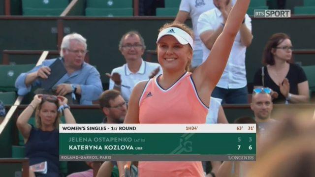 1er tour,Ostapenko (AUT) - Kozlova (UKR) 5-7 3-6: la tenante du titre sort en 2 sets ! [RTS]