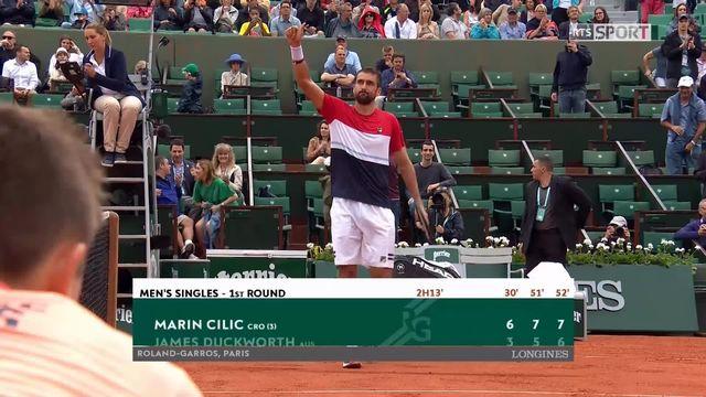 1er tour, M.Cilic (CRO) – J.Duckworth (AUS) 6-3, 7-5, 7-6: victoire en 3 sets pour le Croate [RTS]