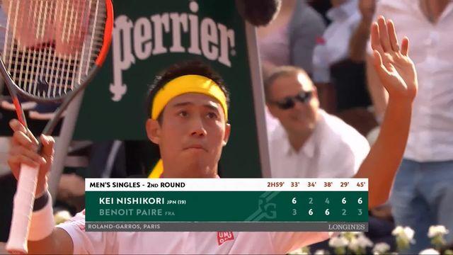 2e tour, K.Nishikori (JAP) – B.Paire (FRA) 6-3, 2-6, 4-6, 6-2, 6-3: Nishikori s'en sort en 5 sets face à Paire [RTS]