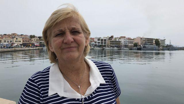 Agnès Matrahji, notre invitée prise par Gabrielle Desarzens sur l'ile de Lesbos. [Gabrielle Desarzens - RTS]