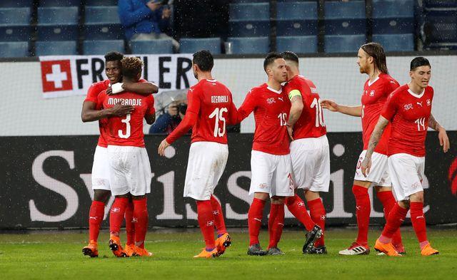 Des joueurs de l'équipe suisse de football lors d'un match contre le Panama. [Stefan Wermuth - Reuters]