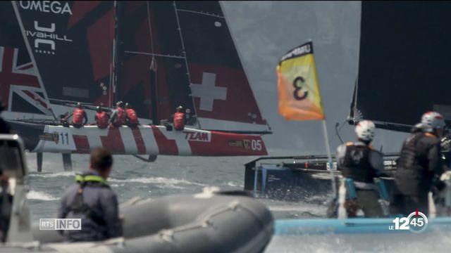 Les Suisses ont remporté le premier Mondial des catamarans volants GC32. [RTS]