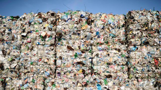 Des bouteilles en plastique dans une usine de recyclage à Berlin. [Clemens Bilan - EPA/Keystone]