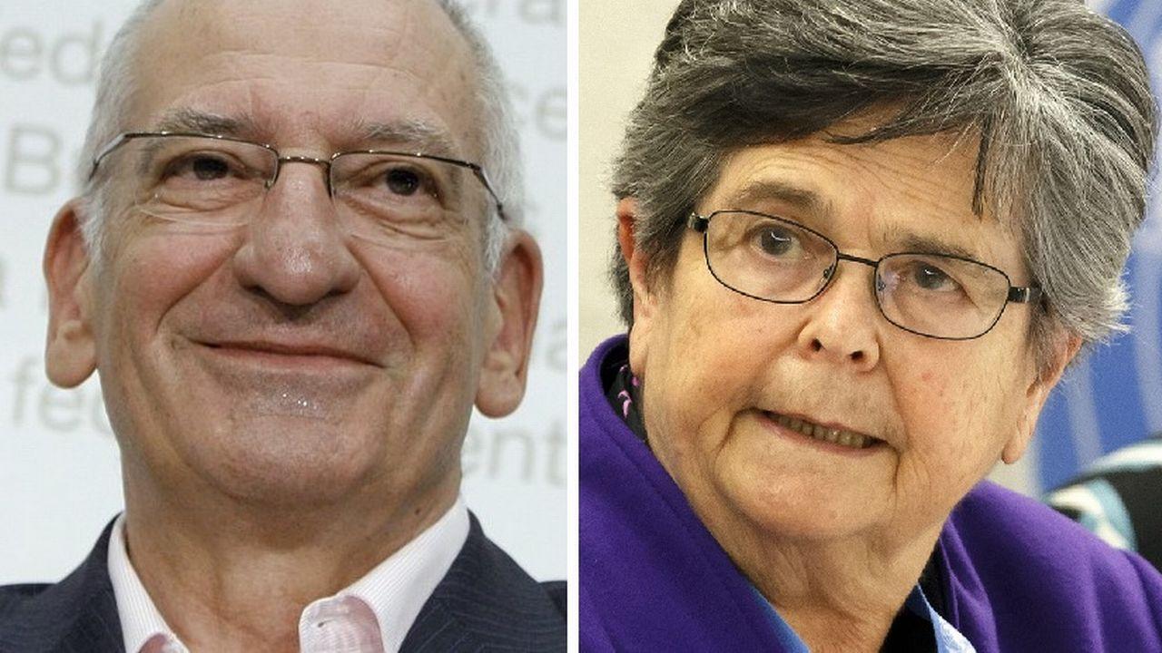 Les deux anciens conseillers fédéraux Pascal Couchepin et Ruth Dreifuss. [Peter Klaunzer/Salvatore Di Nolfi - Keystone]