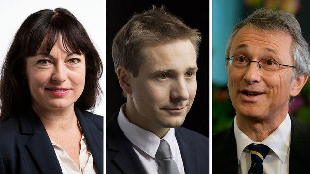 Géraldine Savary, Philippe Nantermod, Peter Rothenbühler. [Gaetan Bally/Martin Ruetschi - keystone]