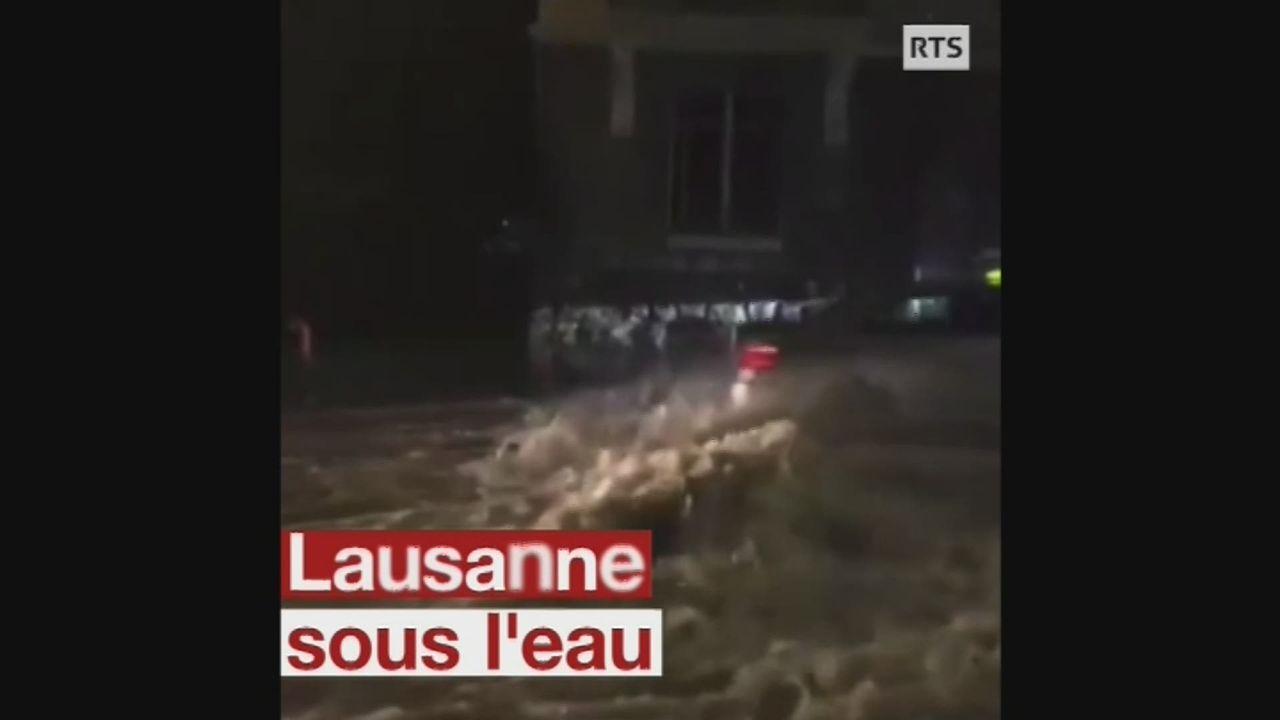 Un violent orage provoque des inondations dans la région lausannoise. [RTS]