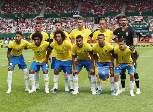 L'équipe brésilienne lors de son dernier match de préparation face à l'Autriche, 10.06.2018. [Laurent Lairys - DPPI/AFP]