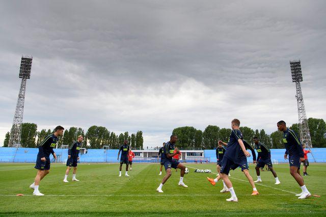 1er entraînement de l'équipe nationale suisse de football à Togliatti, en Russie. [Laurent Gilliéron - Keystone]