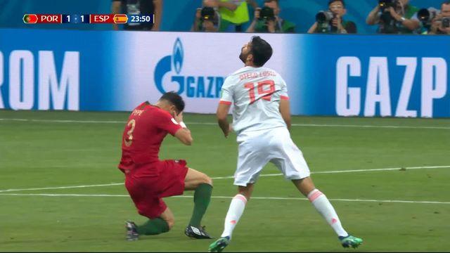 Gr.B, Portugal – Espagne (1-1): 24e, Diego Costa résiste à la défense portugaise et égalise [RTS]