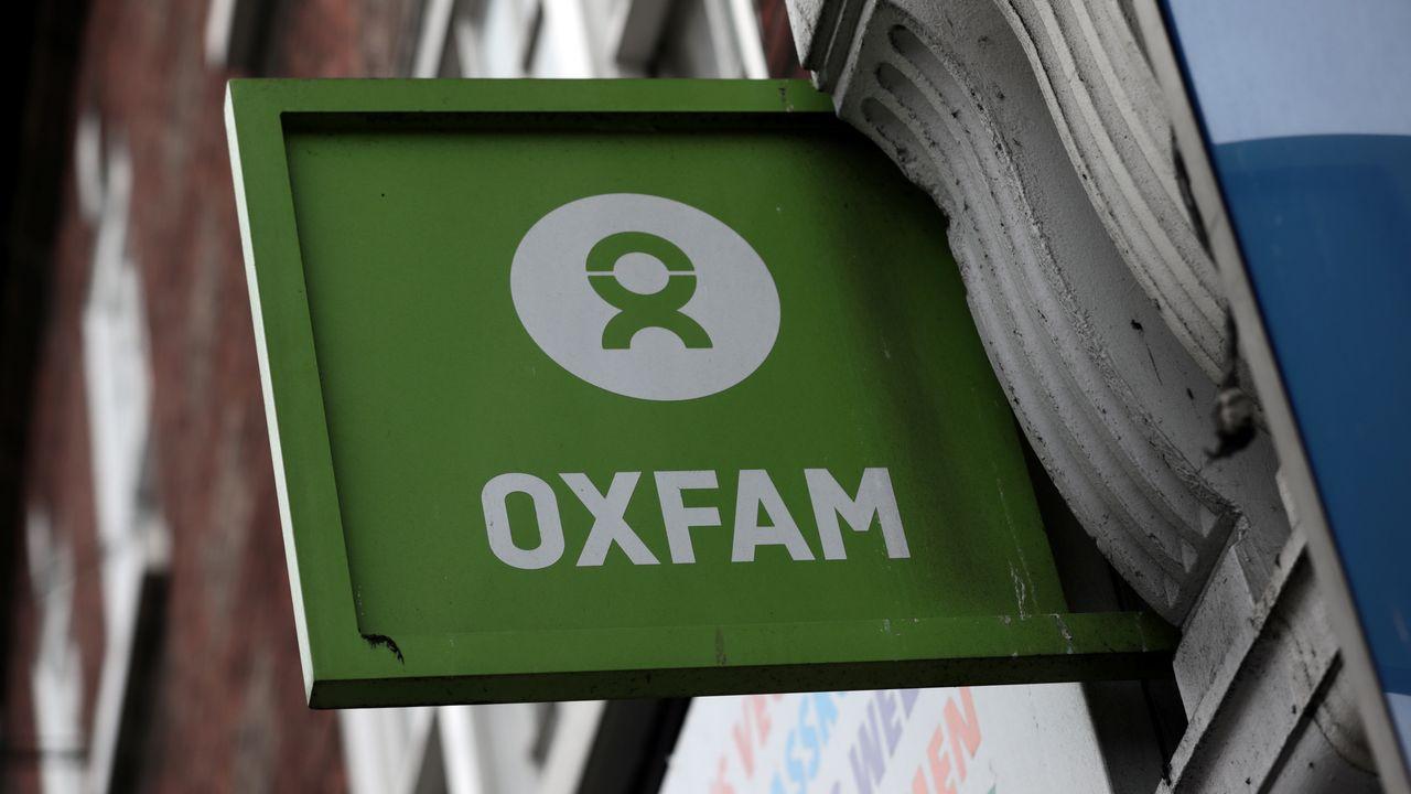 Le logo d'Oxfam, dans le centre de Londres. [Simon Dawson - Keystone]